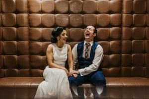 redcastle oceanfront spa hotel, bride and groom, donegal bride, laugh