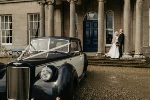 Drenagh Estate, Bride and groom, Autumn wedding, bride and groom, drenagh house, cars