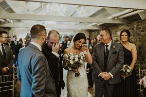 ballymagarvey village wedding venue, happy tears, bride and groom