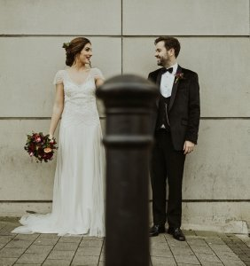 guildhall square, happy tears, bride and groom, bridal party, boho