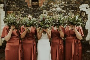 raceview mill, bridal party, boho, bride and groom